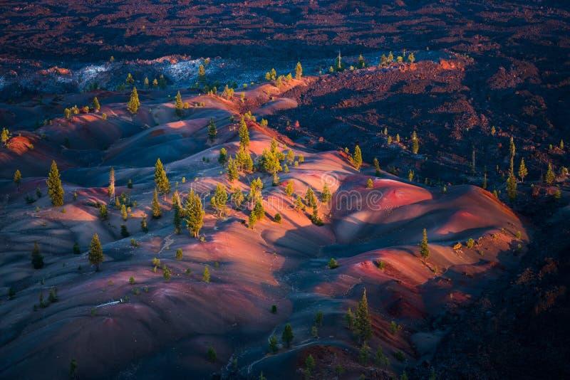 Dunas, Lava Beds, formação de Badland, e pinheiros pintados coloridos no parque nacional vulcânico de Lassen em Califórnia do nor imagem de stock royalty free
