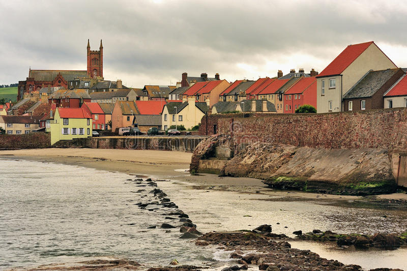 Dunbar coastal town, Scotland. Dunbar seafront is on the east coast of Scotland, it does at times stand in the path of heavy weather from the North sea, hence stock photography