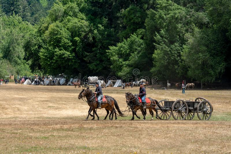 Civil war re-enactement in Duncans Mills, CA, USA royalty free stock photography