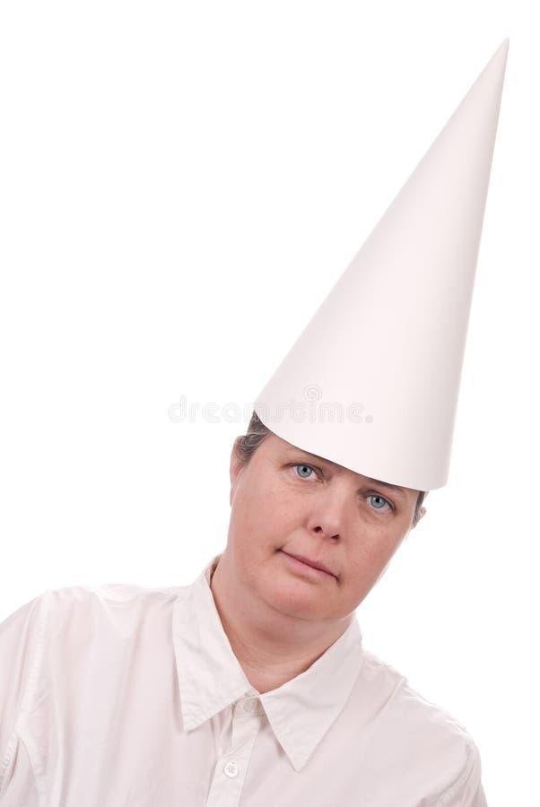 dunce ΚΑΠ γυναίκα στοκ εικόνες