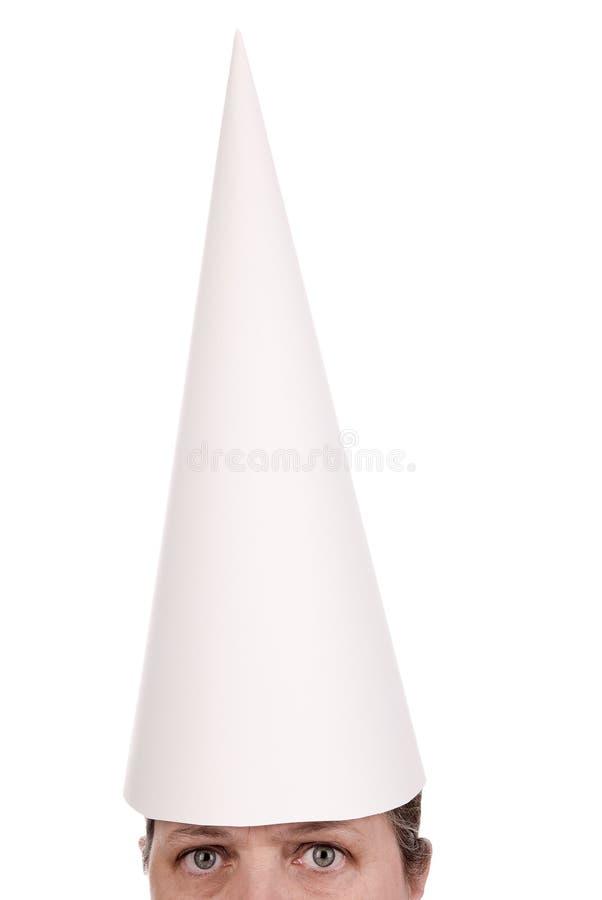 Dunce cap on Woman stock photos