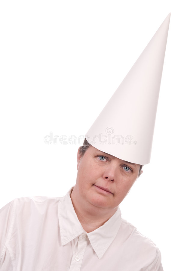 Dunce cap on Woman stock images