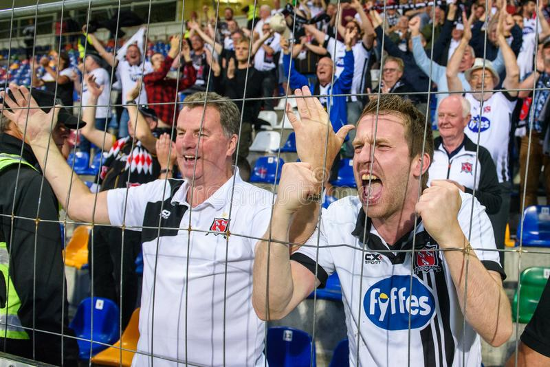 DUNDALK FC fans after their team win at penalties,. RIGA, LATVIA. 17th of July, 2019. DUNDALK FC fans after their team win at penalties, during UEFA Champions royalty free stock images
