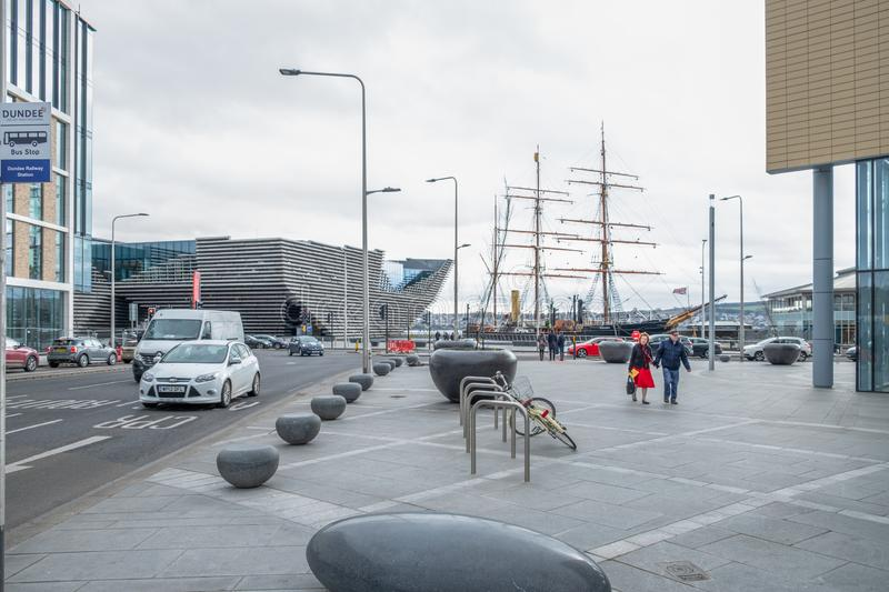 Dundee City Union Street Looking down Towards Riverside Esplanade and the new V & A Victoria & Albert and RRS Ship Discovery stock photography
