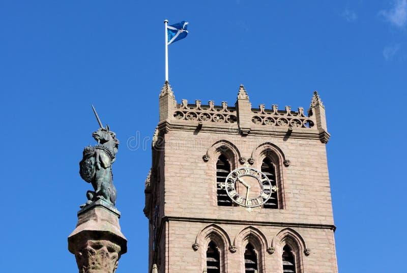 Dundee& x27; s Steeple kościół & jednorożec statua zdjęcie royalty free