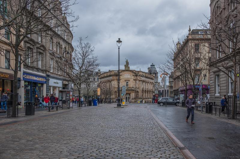 High Street in the City Centre of Dundee with its Impressive Cobbled Streets Scotland stock photos
