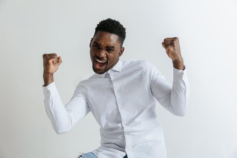 dundersuccé Attraktiv manlig i halvfigur främre stående på grå studiobackgroud Emotionell förvånad skäggig man för ung afro royaltyfri bild