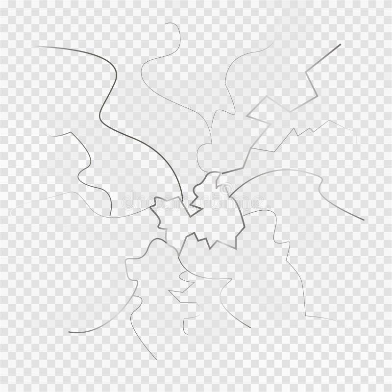 Dundersuccé till småbitar broken exponeringsglas Fragment av brutet exponeringsglas Grå färgbakgrund också vektor för coreldrawil stock illustrationer