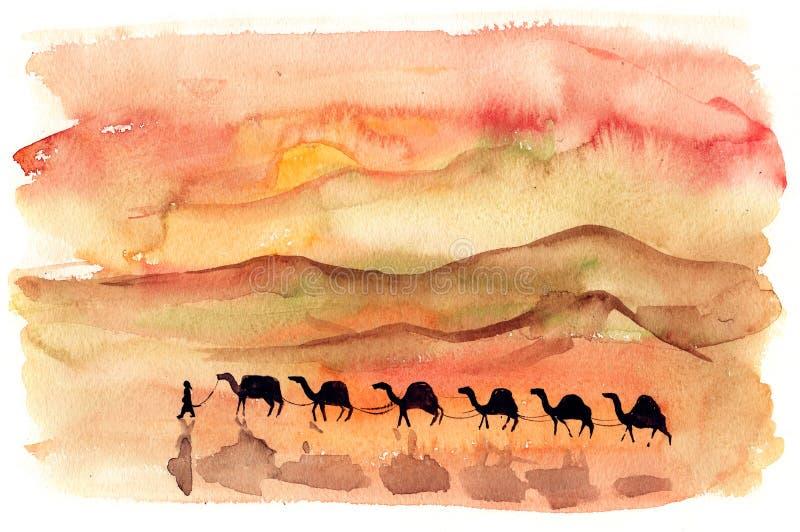 Dune. Herd of camels walking through red hot dune royalty free illustration