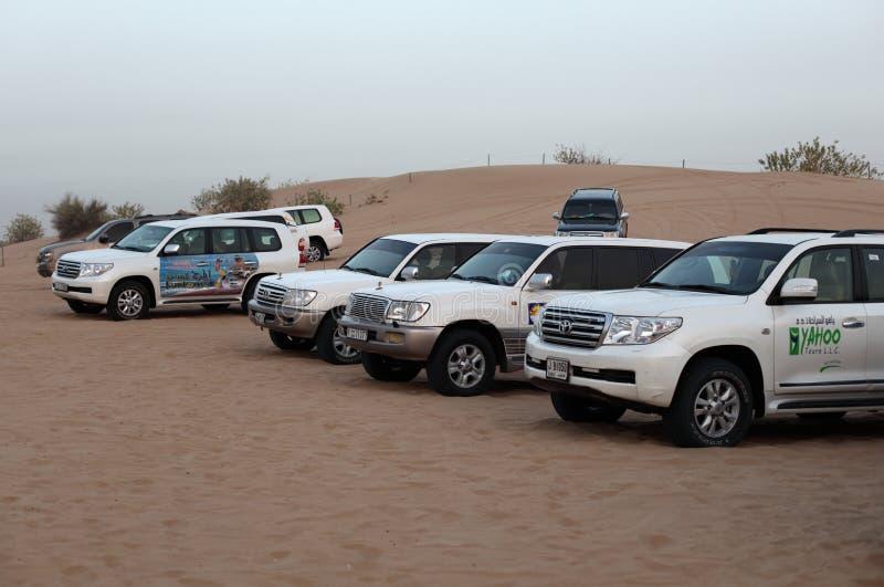 Dune bashing offroad cars, Dubai. Dune bashing offroad cars in the desert of Dubai, United Arab Emirates. Photo taken at 6th of June 2011 royalty free stock image