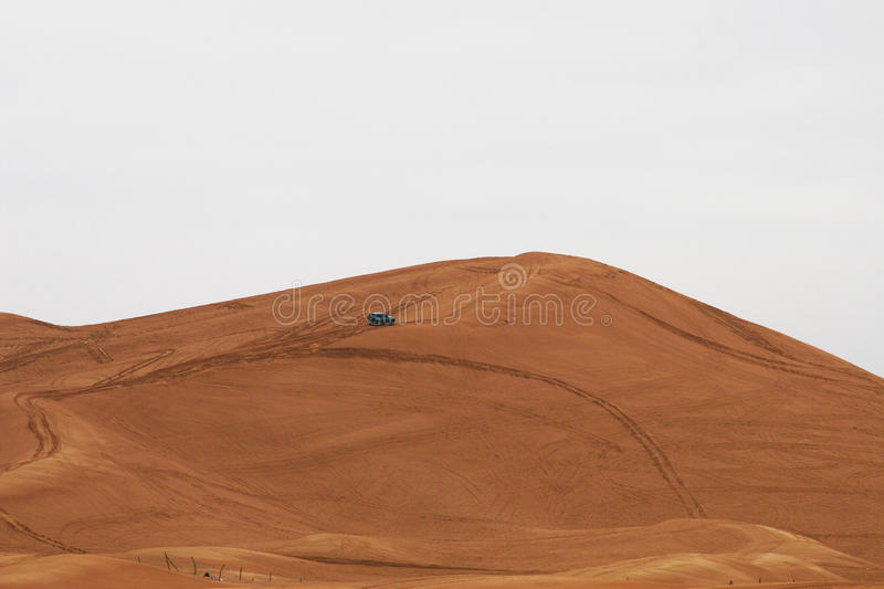 Dune bashing. A popular pastime in Dubai is dune bashing with a four wheel drive vehicle. Nice pastime in the winter when the sand is firm royalty free stock photo