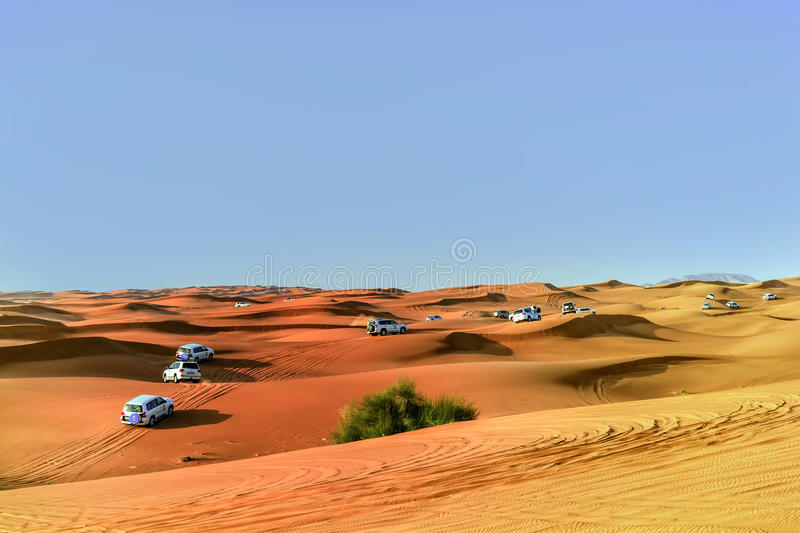 4 by 4 Dune bashing is a popular sport of the Arabian Desert. Dubai- March 4, 2015:4 by 4 Dune bashing is a popular sport of the Arabian Desert royalty free stock images