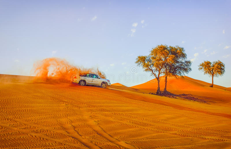 4 by 4 Dune bashing is a popular sport of the Arabian Desert. Dubai- March 4, 2015:4 by 4 Dune bashing is a popular sport of the Arabian Desert royalty free stock photo