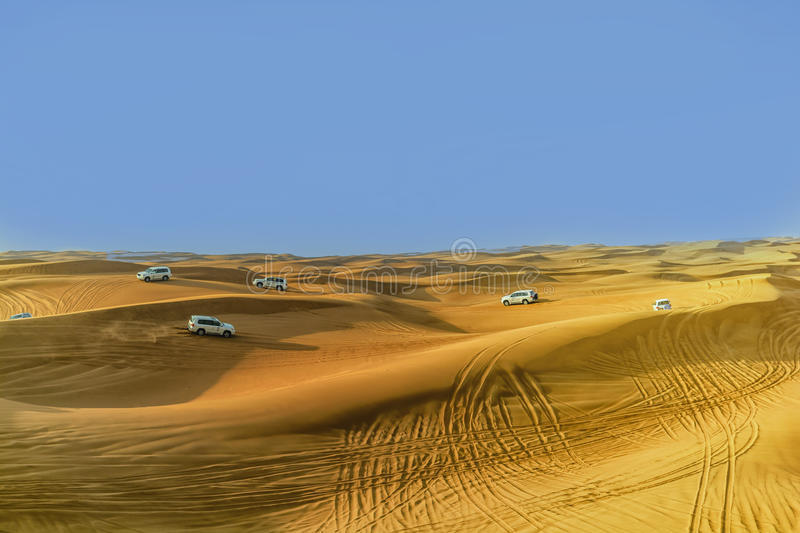 4 by 4 Dune bashing is a popular sport of the Arabian Desert. Next to Dubai royalty free stock photos