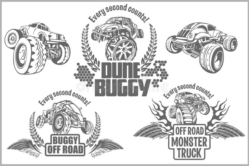 Dune buggy and monster truck - vector badge. Dune buggy and monster truck - vector illustration stock illustration