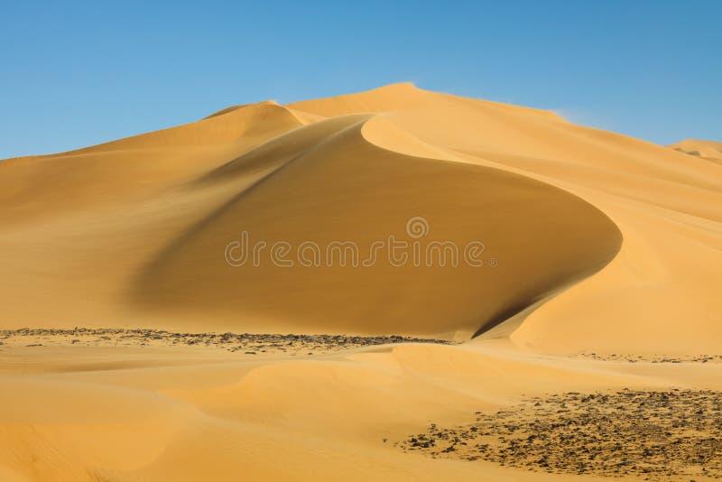 Dune de sable parfaite dans le désert de Sahara, Libye photos libres de droits