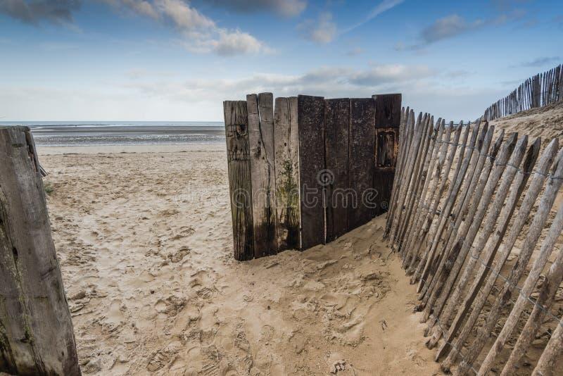 Dune della spiaggia dell'Utah nel sito storico di guerra due del Wold della Normandia immagine stock