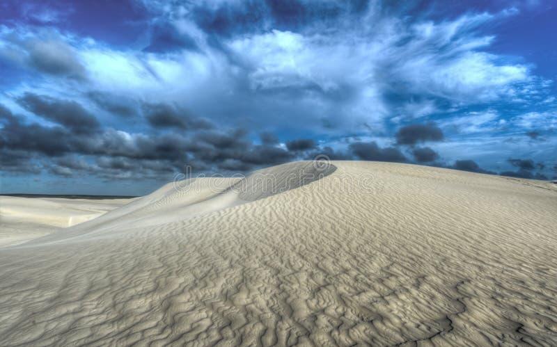 Dune di sabbia bianche della riserva naturale di Nilgen fotografia stock