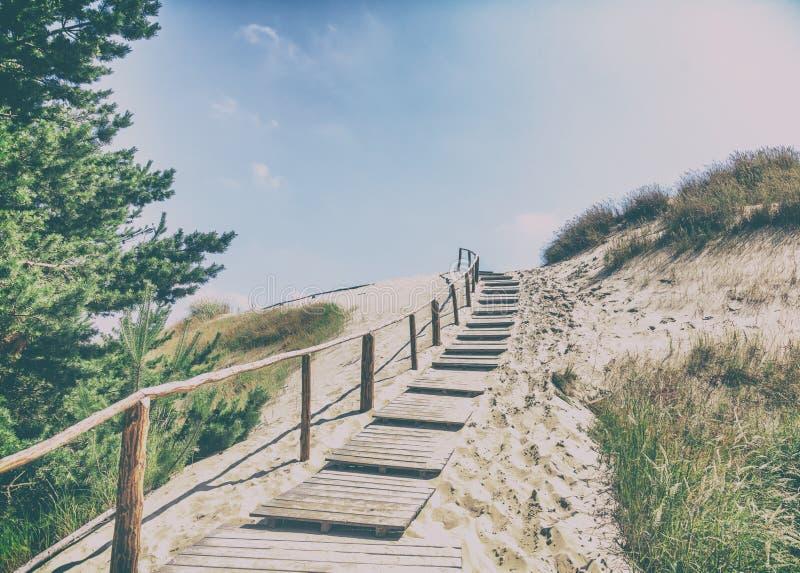 Dune di sabbia bianche, Nida, Lituania Bello paesaggio con il blu fotografie stock libere da diritti
