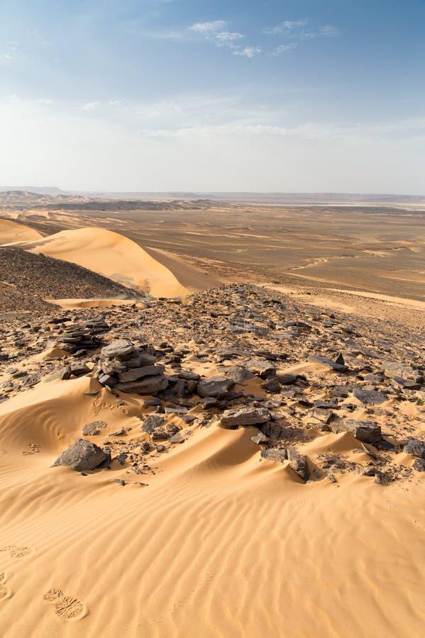 Dune e rocce nel deserto fotografia stock libera da diritti