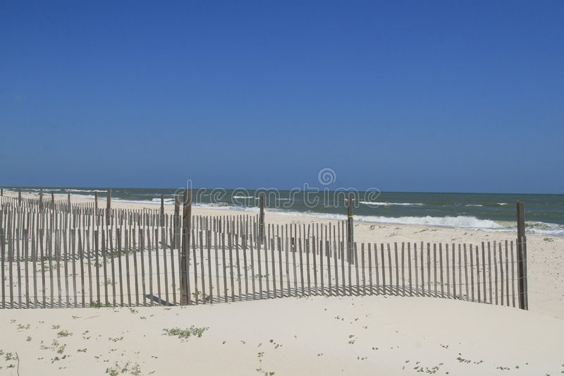 Dune Fences on the Beach. Provide erosion protection from storms stock image
