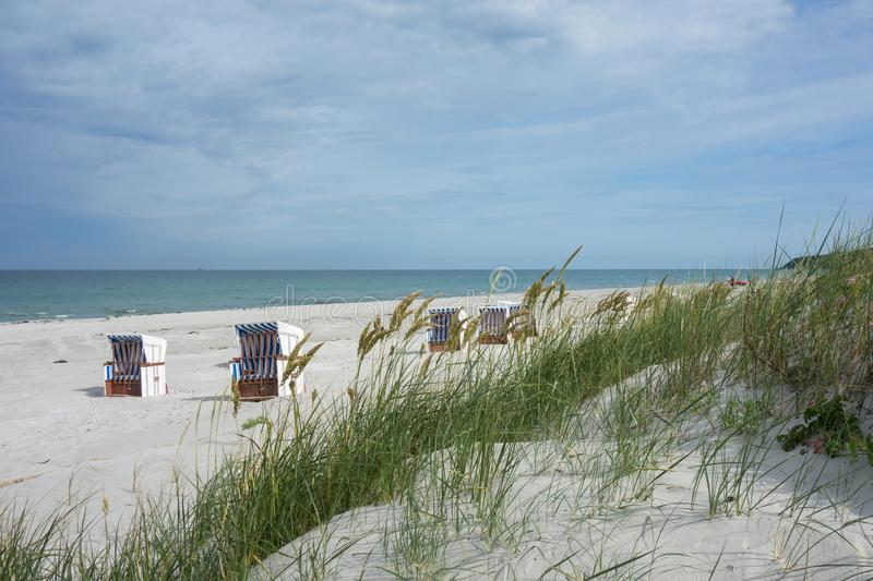 Dune At Hiddensee Island Beach With Beach Chairs. In The Background stock photography