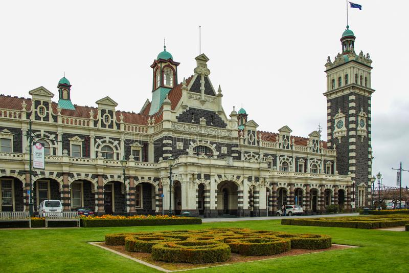 Dunedin, New Zealand - September 24th 2016: famous railway station building in Dunedin Otago on a cloudy day stock photos