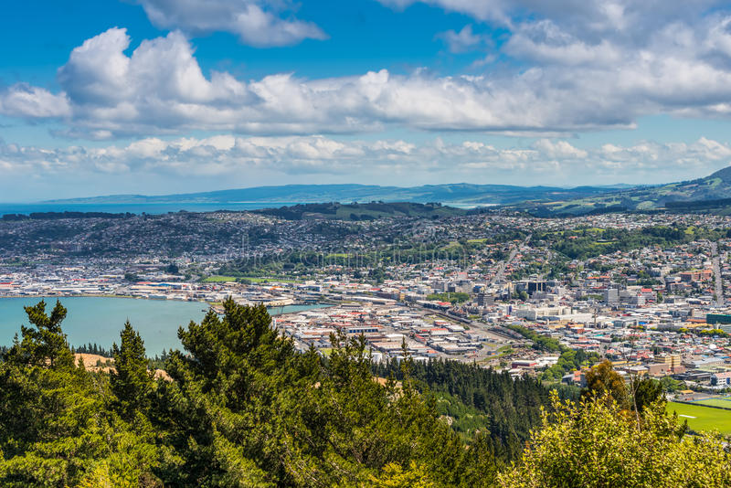 Dunedin seen from the peak of Signal Hill, New Zealand stock image