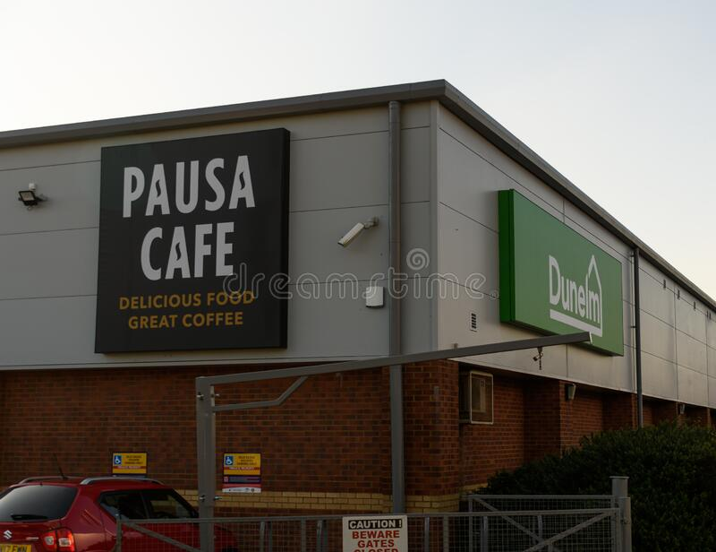 Dunelm store Reading. Reading, United Kingdom - February 06 2020:  The d=sign for the Dunelm home furnishing store and cafe in Pincents Lane royalty free stock photography