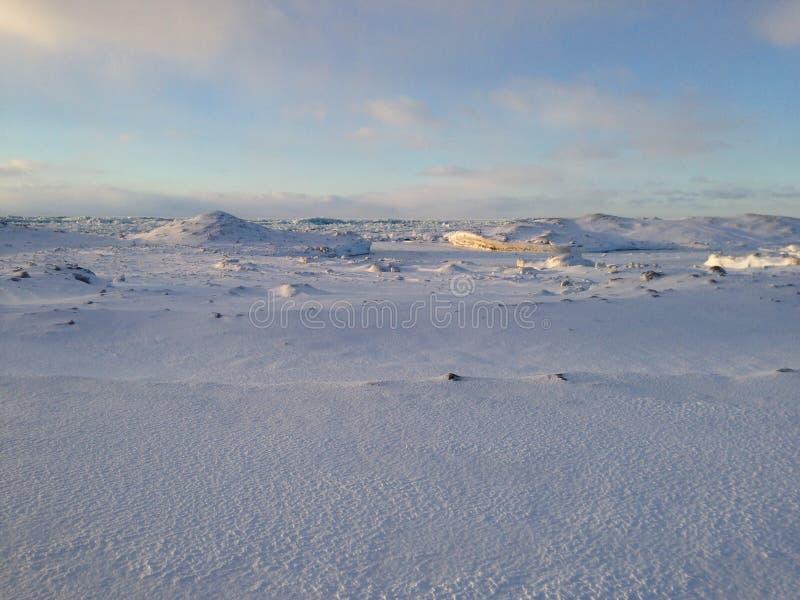 Dunes de neige et de glace sur le rivage du lac Érié au coucher du soleil image libre de droits