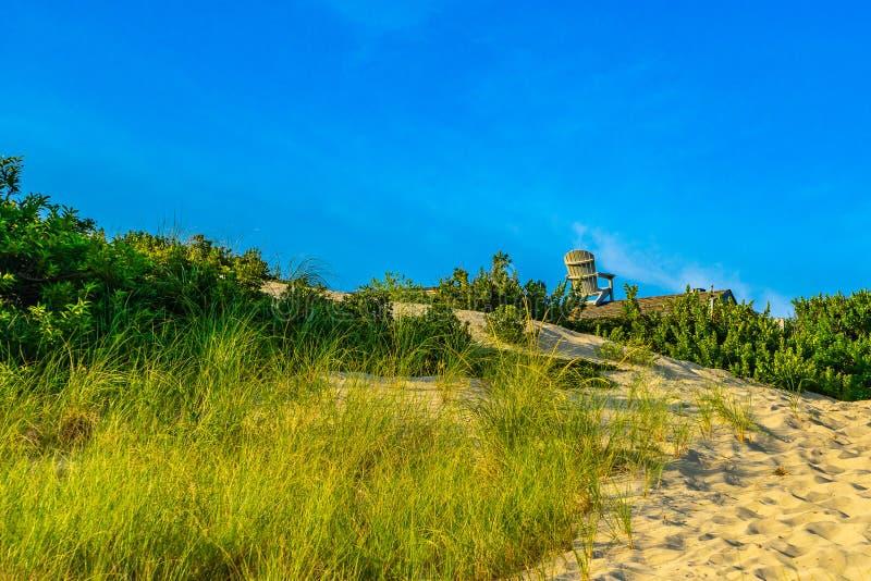 Dunes de sable, fauteuil géant sur le toit de la maison et herbe du Provincelands Cape Cod mA USA photos libres de droits