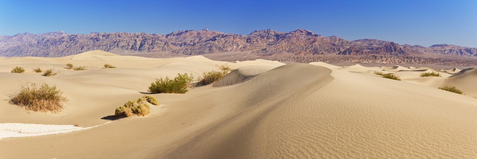 Dunes de sable plat Mesquite dans le parc national de Death Valley photos stock