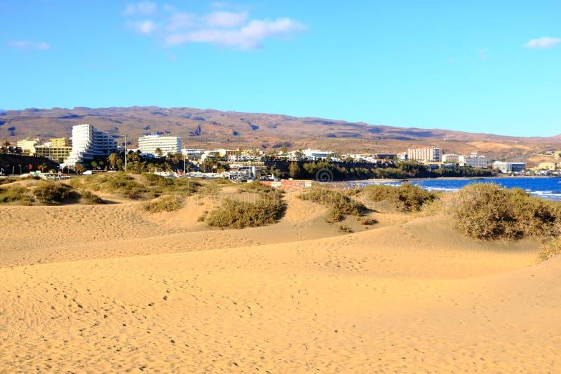 Dunes de Sandy en plage naturelle c?l?bre de Maspalomas Gran Canaria l'espagne photo libre de droits