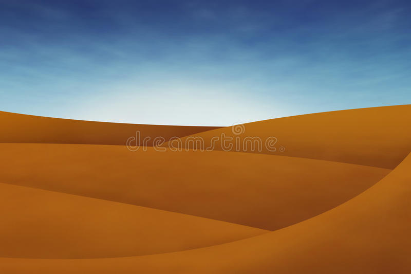 Dunes in the desert with blue sky