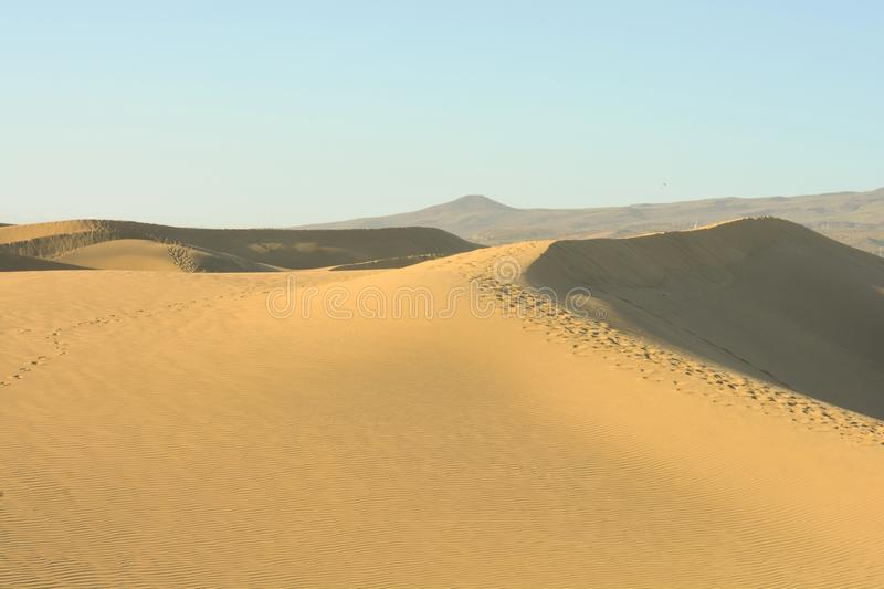 The huge sand dunes in the great deserts stock images