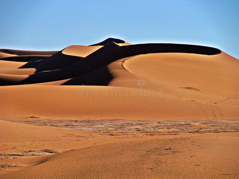 Dunes in the moroccan sahara desert. M`Hamid is a town that is in the Zagora region, in the center of Morocco, and is recognized as one of the places where the royalty free stock image