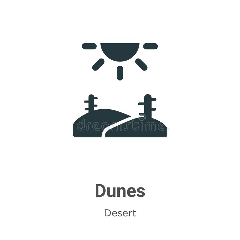 Dunes vector icon on white background. Flat vector dunes icon symbol sign from modern desert collection for mobile concept and web royalty free illustration
