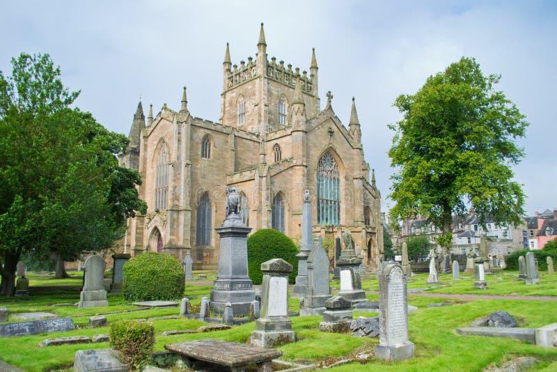 Dunfermline Abbey Church. Ruins of Dunfermline Abbey Church, Scotland, United Kingdom with cimitery view stock photos