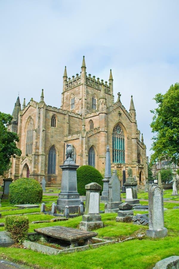 Dunfermline Abbey Church. Ruins of Dunfermline Abbey Church, Scotland, United Kingdom with cimitery view stock photo