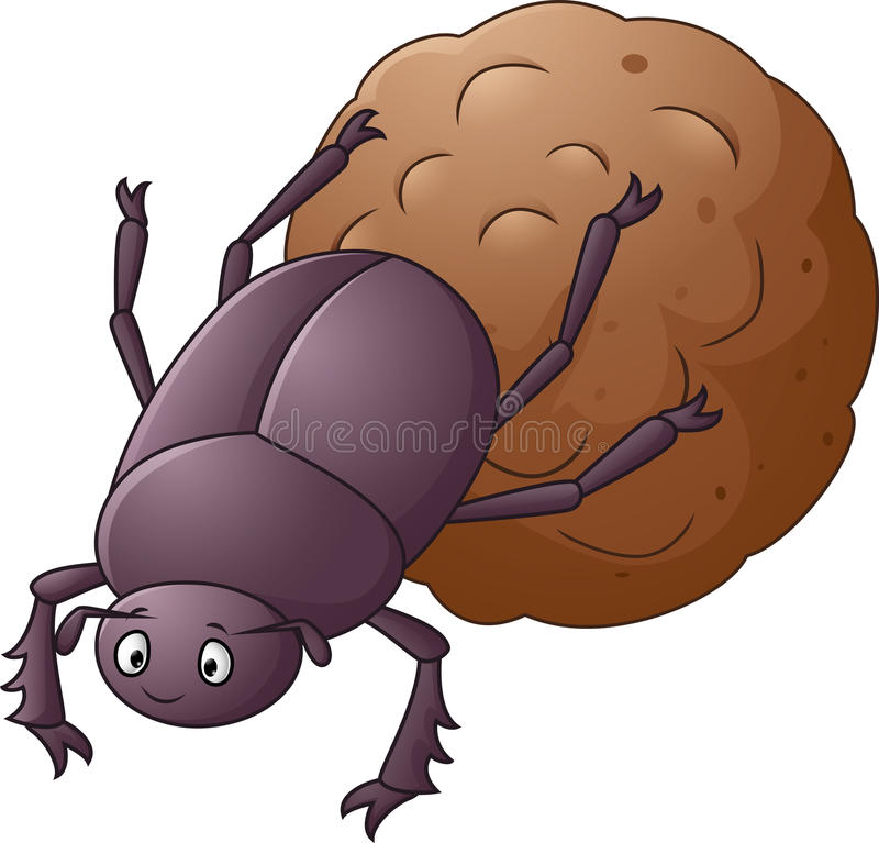 Dung Beetle with a Big Ball of Poop Cartoon royalty free illustration