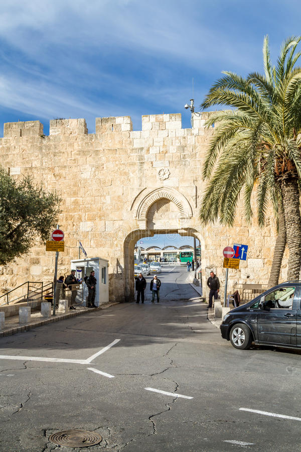 Dung Gate Old City av Jerusalem arkivbilder