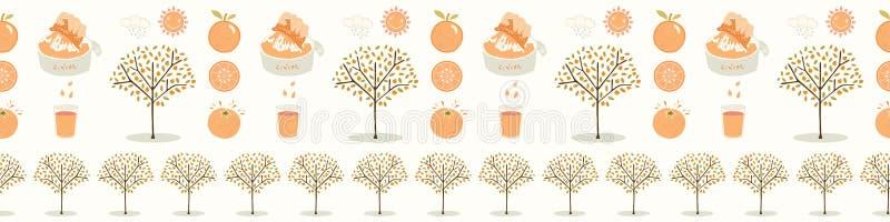 Dunge för orange träd för vektor För vektorgräns för hand utdragen sömlös illustration vektor illustrationer