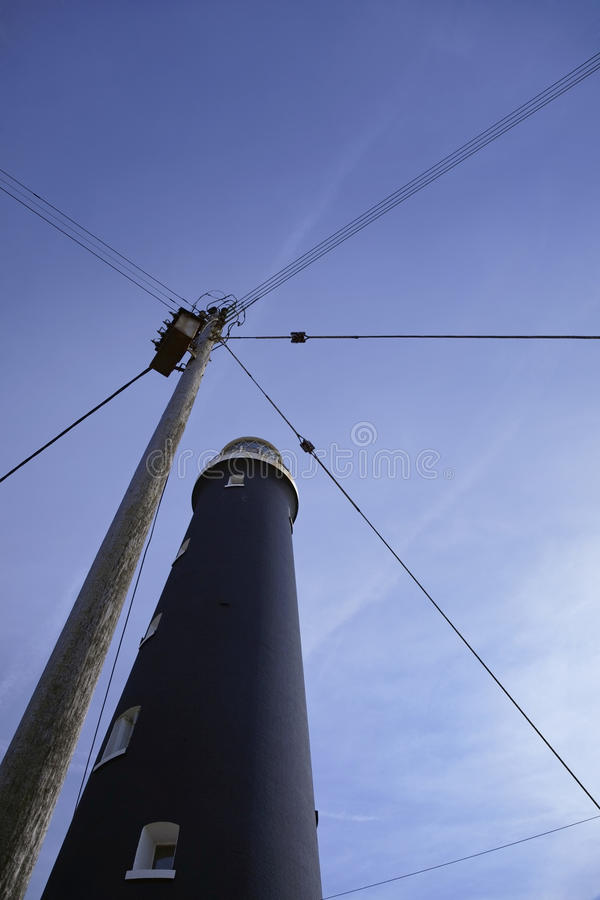 Dungeness Kent latarni morskiej niskiego kąta UK widok  zdjęcia royalty free