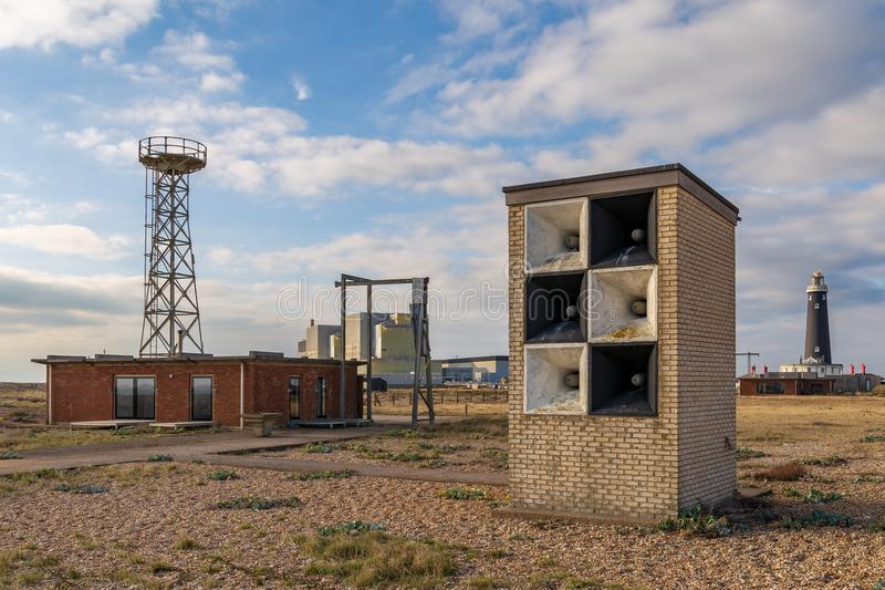 Dungeness Power Station & Old Lighthouse, Kent, UK royalty free stock image