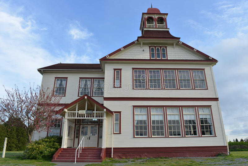 Dungeness Shoolhouse, Sequim, Washington. This school opened it's doors in 1893 enrolling 63 students in grades 1-5, and one teacher at $75 a month stock photos