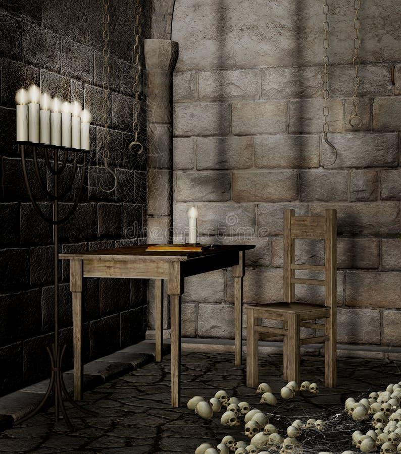 Dungeon med skallar vektor illustrationer