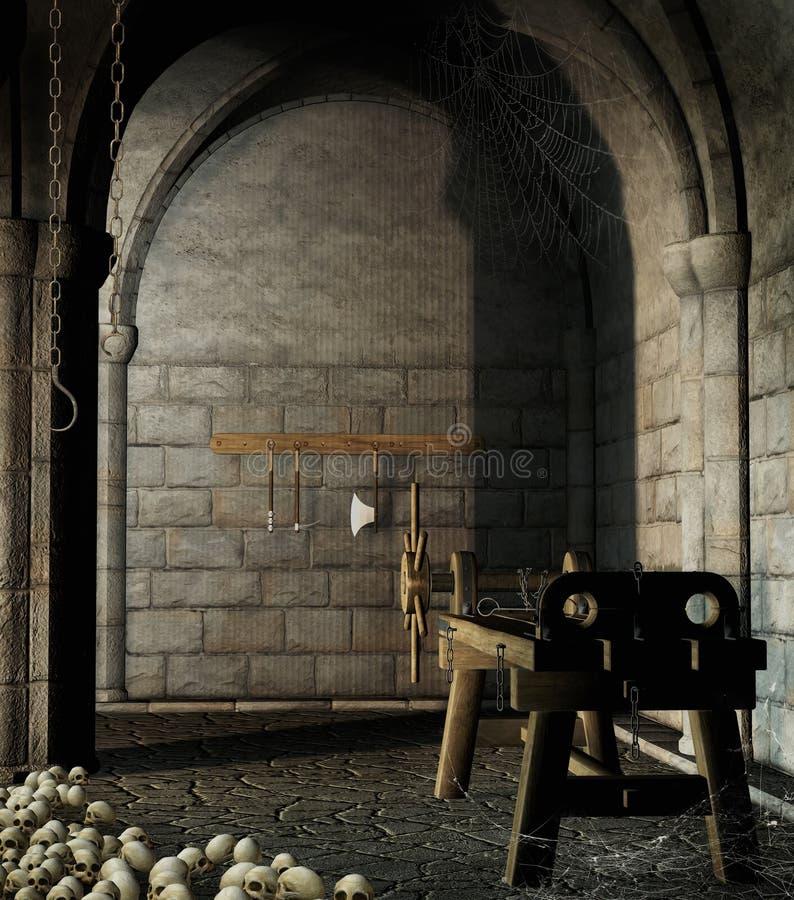 Dungeon med tortyrhjälpmedel stock illustrationer