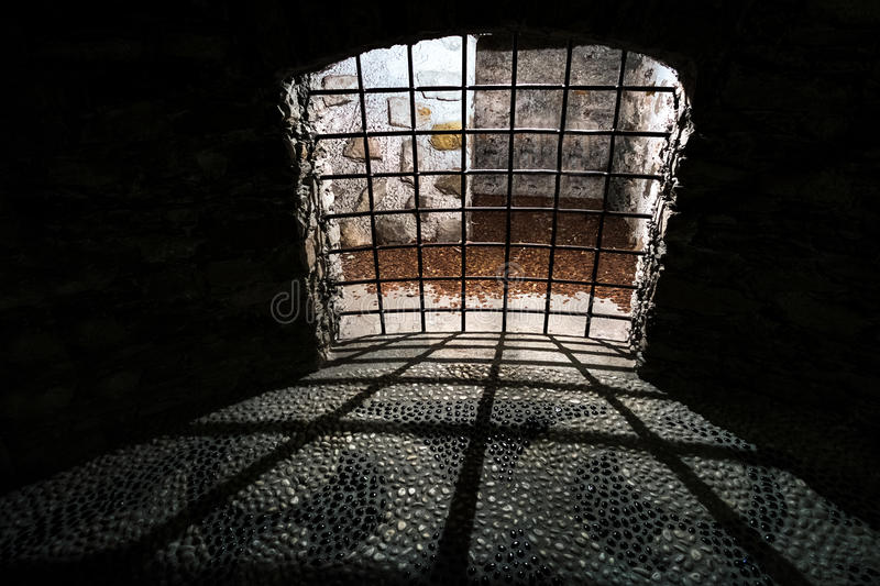 Dungeon old dark prison medieval cell bars stock images