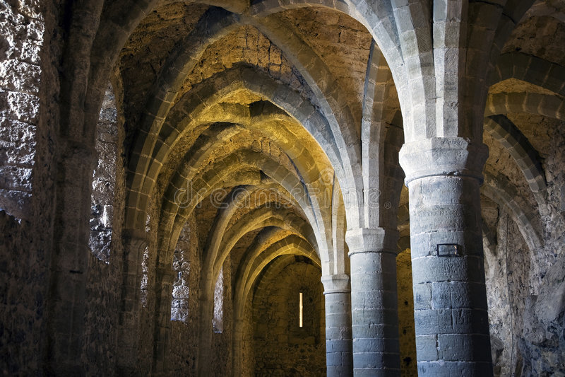 The dungeons of Chateau de Chillon stock photo