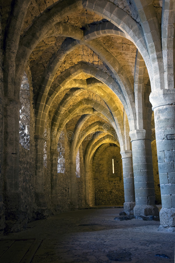 The dungeons of Chateau de Chillon stock photography